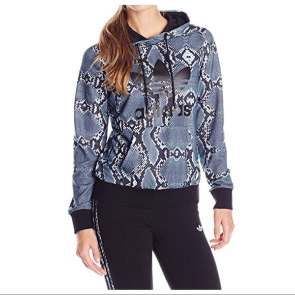 ba68580b7b1db NWOT Adidas Snakeskin Print Trefoil Hoodie Boutique
